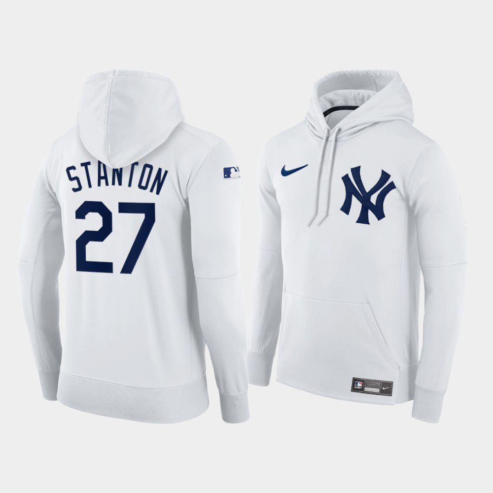 Cheap Men New York Yankees 27 Stanton white home hoodie 2021 MLB Nike Jerseys